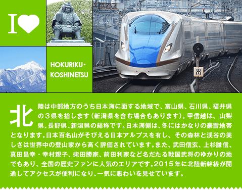 北陸は中部地方のうち日本海に面する地域で、       富山県、石川県、福井県の3県を指します(新潟県を含む場合もあります)。甲信越は、山梨県、長野県、新潟県の総称です。日本海側は、冬にはかなりの豪雪地帯となります。       日本百名山がそびえる日本アルプスを有し、その森林と渓谷の美しさは世界中の登山家から高く評価されています。また、武田信玄、上杉謙信、真田昌幸・幸村親子、柴田勝家、       前田利家など名だたる戦国武将のゆかりの地でもあり、全国の歴史ファンに人気のエリアです。2015年に北陸新幹線が開通してアクセスが便利になり、一気に賑わいを見せています。