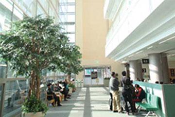 外来棟1階。最上階まで吹き抜けの空間は、自然光が降り注ぎ病院の閉塞感を払拭している。プライバシーを配慮し、待合いはスタッフ通路と分離している。